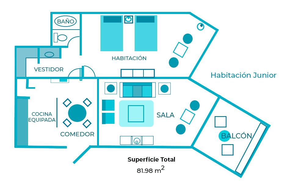 medidas habitacion junior hotel casa maya cancun
